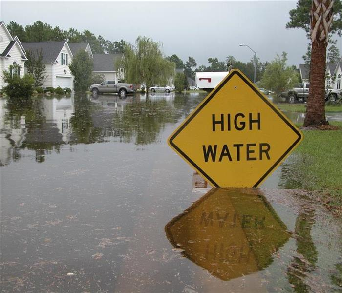 high flood water yellow sign