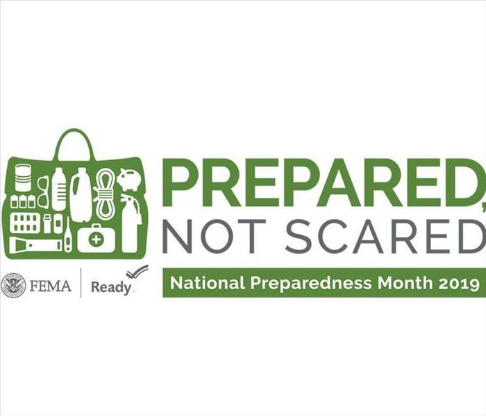green and white graphic with text: prepared not scared